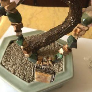 Vintage 925 Peyote Bird turquoise necklace